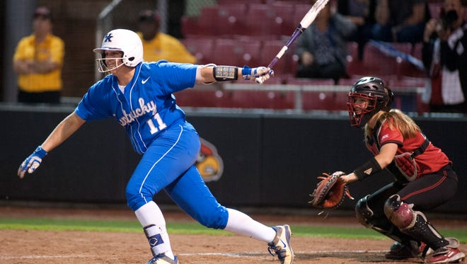 UK's Abbey Cheek singles to the shortstop driving in UK's  Katie Reed to tie the score in the top of the 7th inning.27 April, 2016