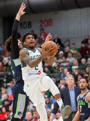 Xavier Munford of the Wisconsin Herd goes up for a shot Friday during the home opener at the Menominee Nation Arena December 1, 2017.
