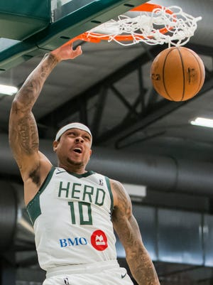 Shannon Brown of the Wisconsin Herd sinks a shot during Wednesday's game against the Erie Bayhawks at the Menominee Nation Arena January 24, 2018.