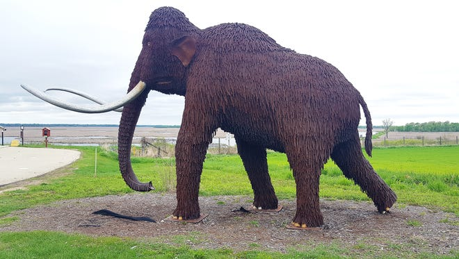 A wooly mammoth sculpture greets visitors at the Horicon Marsh Education and Visitor Center on Highway 28 north of Horicon.