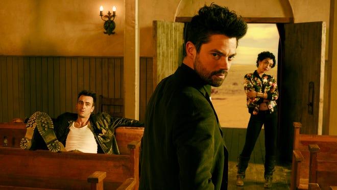 "Joseph Gilgun (from left), Dominic Cooper and Ruth Negga star in AMC's ""Preacher."""