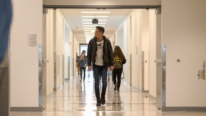 Students headed to class on Monday through unfamiliar surroundings in the new buildings at Farmington High School.