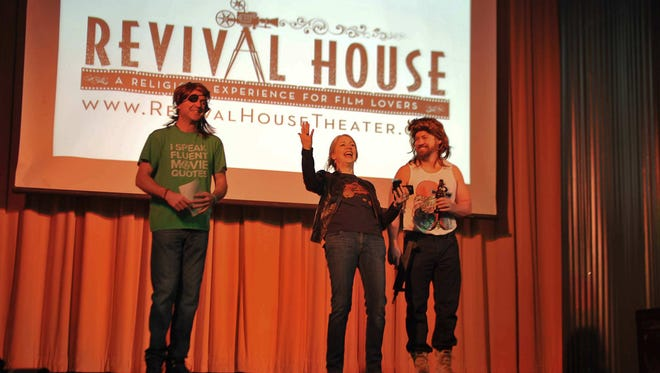 """Revival House"" founders Dressed as their favorite Kurt Russell characters, Rob Rector, Erin Tanner and Rob Waters welcome the audience to a Revival House screening"