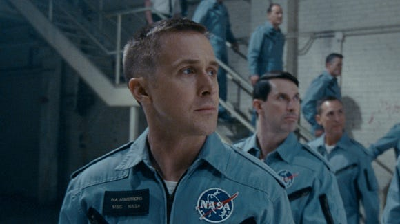 Neil Armstrong (Ryan Gosling, left) goes through rigorous training with his fellow astronauts.