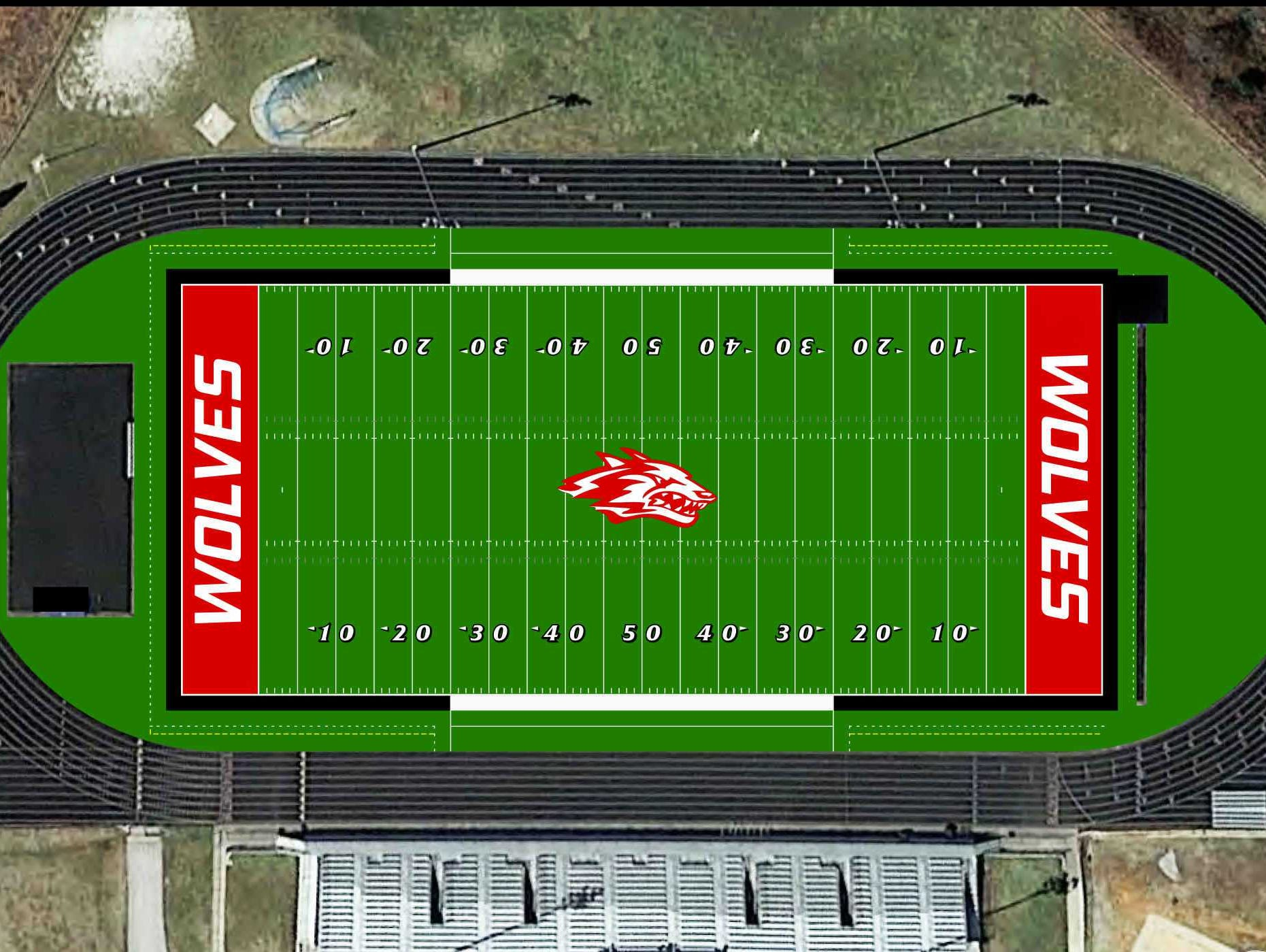 An artist's rendering of what the new Carl Langley Field at Wolves Stadium will look like from the air if artificial turf is installed.