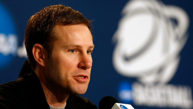Iowa State's coach Fred Hoiberg talks to the media on Wednesday at the NCAA tournament. 