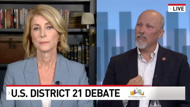 Democrat Wendy Davis and U.S. Rep. Chip Roy, a Republican from Hays County, debated Tuesday night in the race for the 21st Congressional District.