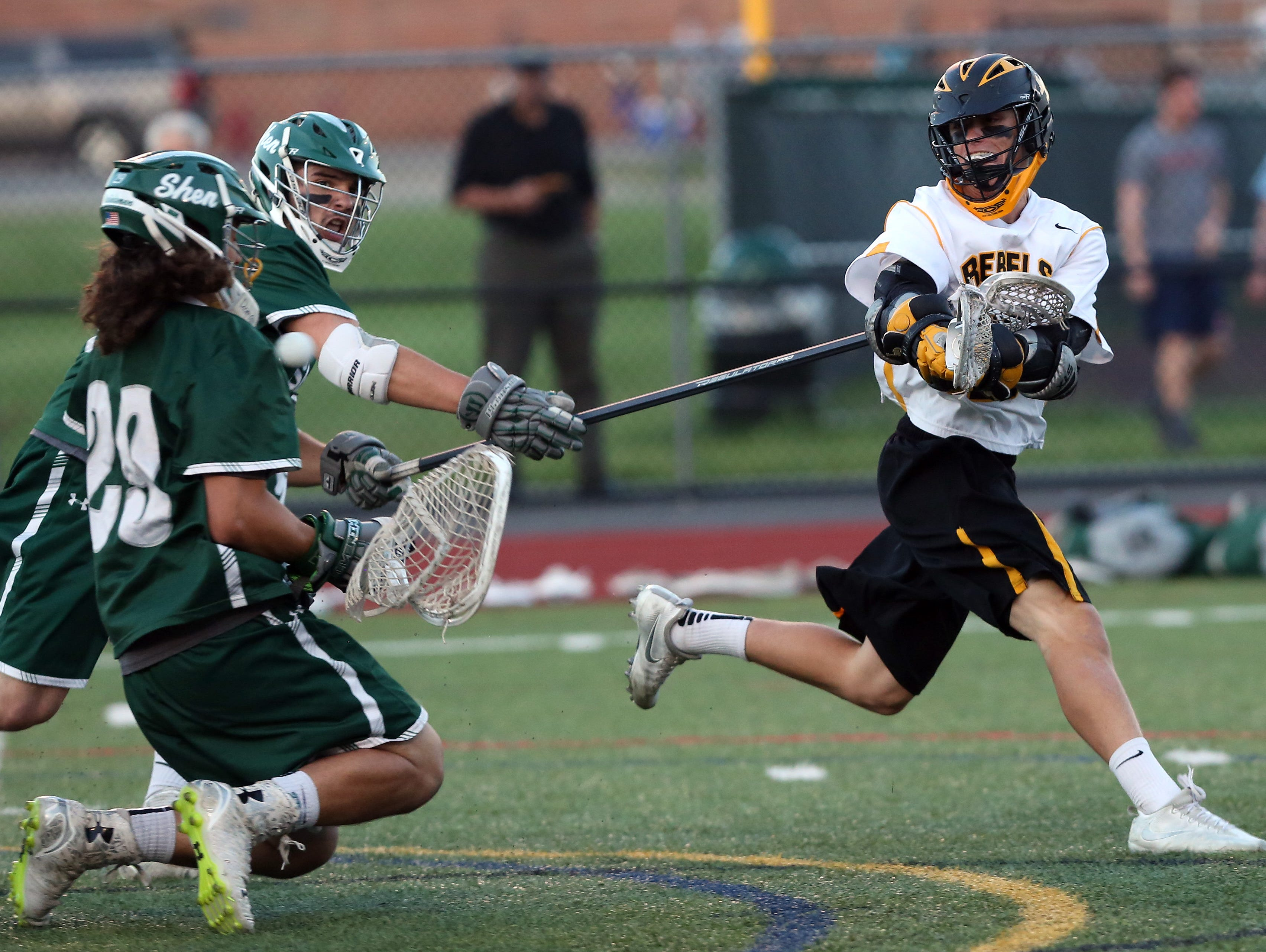 Lakeland/Panas' Sean Makar (2) fires a shot that gets by Shenendehowa goalie Anthony Tebbano, during the Class A state regional semifinal lacrosse game at Yorktown High School June 1, 2016. Lakeland/Panas won the game 8-7.
