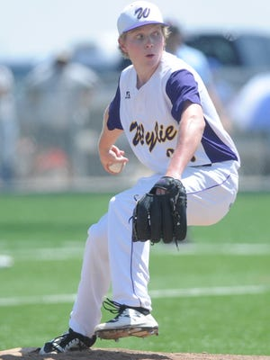 Wylie reliever Hutton Frazier gets ready to throw a pitch in the seventh inning against Levelland. Wylie won the game 12-3 on Saturday, May 27, 2017 at Cardinal Field in Hermleigh to sweep the Region I-4A semifinal series.