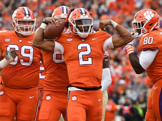 Clemson quarterback Kelly Bryant (2) reacts after scoring against Florida State during the 1st quarter on Saturday, November 11, 2017 at Clemson's Memorial Stadium.