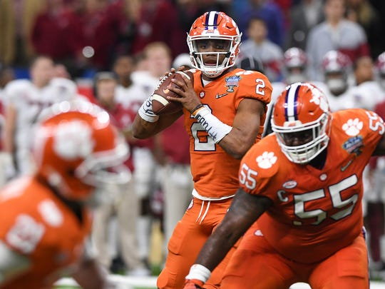 Clemson quarterback Kelly Bryant (2) during the 4th quarter of the Allstate Sugar Bowl at the Mercedes-Benz Superdome in New Orleans on Monday, January 1, 2018.