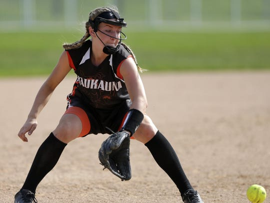 Kaukauna High SchoolÕs Sidney Miller prepares to catch