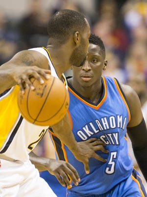 FILE – Victor Oladipo will be wearing the Pacers' blue and gold this season.