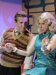 "Derek Gulley, left, and Penelope Alex in Barn Theatre's ""Hairspray."""