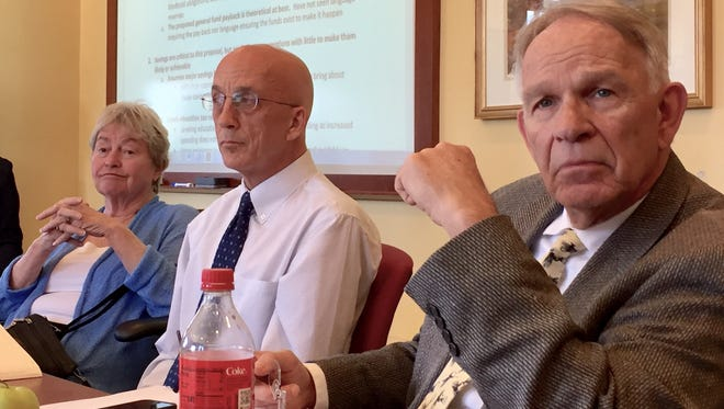 Mark Perrault, center, of the Vermont Legislature's Joint Fiscal Office presented an analysis of Gov. Phil Scott's education finance plan at the House Committee on Ways and Means on Tuesday, May 8.