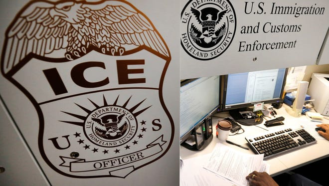 Logo of U.S. Immigration and Customs Enforcement.