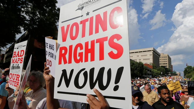 A federal appeals court seemed skeptical Tuesday of North Carolina's voting restrictions, the subject of this 2015 protest in Winston-Salem.