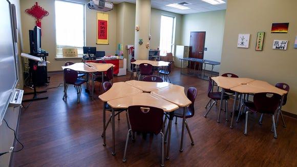 "LAMP Chinese teacher Wenxiu ""Rachel"" Han's classroom was previously an office."