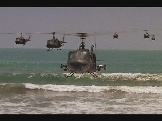 """The helicopter scene in the film """"Apocalypse Now"""" is"""