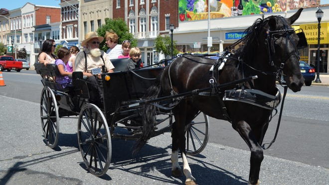 John Beiler and Daniel Wayne, 6, both of Lancaster, Pa., lead a horse-and-buggy ride down Landis Avenue on Saturday during the third anniversary celebration of the Landis MarketPlace.