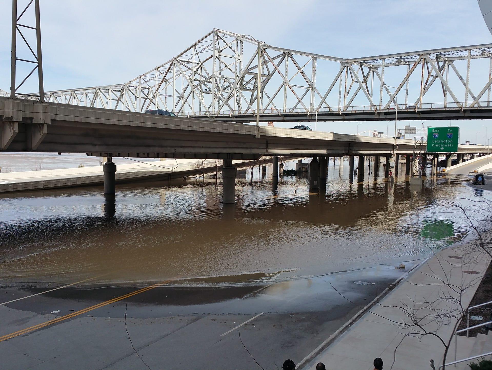 Flood waters in Downtown Louisville