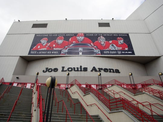 The entrance to Joe Louis Arena, home of the Detroit