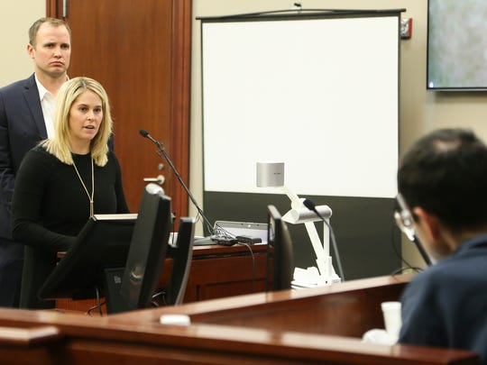 Former athlete Chelsea Williams addresses Larry Nassar Wednesday, Jan. 17, 2018, in Circuit Judge Rosemarie Aquilina's courtroom during the second day of victim impact statements.  Behind her is her husband, who was not named.