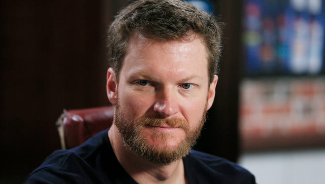 "Dale Earnhardt Jr., is seen during a news conference for Suave Men ""Speed and Style Salon"" at Michigan International Speedway, Friday, June 12, 2015, in Brooklyn, Mich."