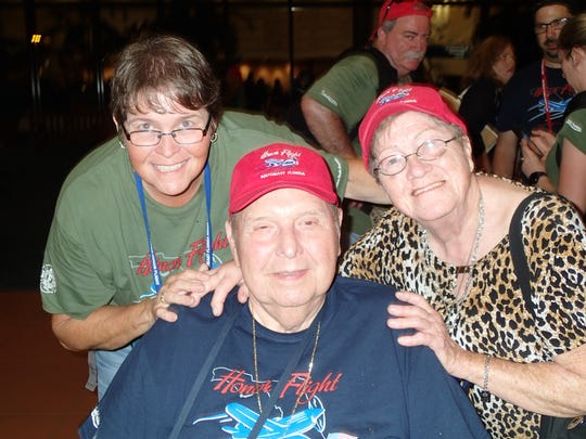 Wendy Dwyer, left, with her dad, Korean War veteran Richard Dwyer, and mother, Coraljean Dwyer.