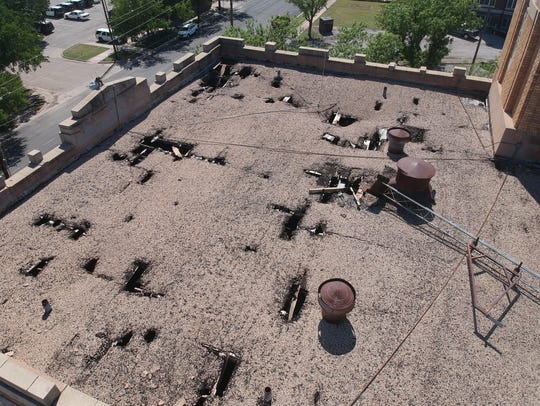 The roof of the county's old jail building, as seen