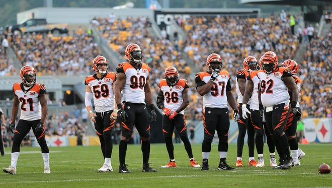 The Cincinnati Bengals waits for the next play during the Week 7 NFL game between the Cincinnati Bengals and the Pittsburgh Steelers, Sunday, Oct. 22, 2017,  at Heinz Field in Pittsburgh.