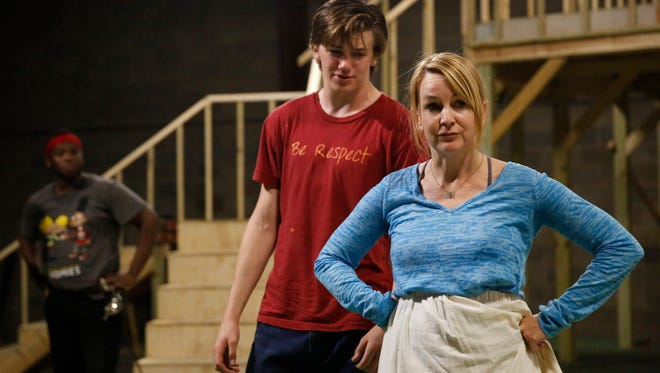 Renee O'Connor, right, and her son Miles Muir share the stage during rehearsals Wednesday, April 18, 2018 for the Southern Shakespeare Company's upcoming production of Romeo & Juliet.