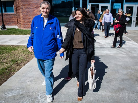 William Barnhouse leaves the Delaware County Justice Center with his attorney, Seema Saifee of the Innocent Project, on March 8, 2017, after his 1992 convictions for rape and criminal deviate conduct were set aside.