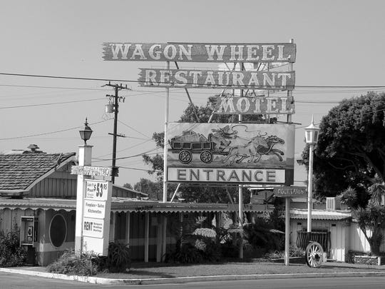 The neon sign, like the Wagon Wheel Motel in Oxnard, lost its luster as the years past, as this shot taken around 2000 shows. The motel closed down in 2006.
