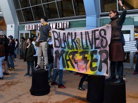 Black Lives Matter and other demonstrators protesting