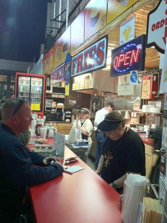 You can buy a cup from J.R.'s Fresh Cut French Fries at Central Market and other downtown locations.