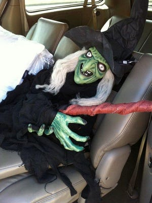 Sara's witch (pictured here in transport) might have caused a visitor or two a moment of fright.