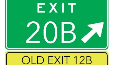 The Massachusetts Department of Transportation project to change all highway exit numbers, making them milepost-based, will get underway on Route 140 between Taunton and New Bedford starting Sunday, Oct. 18. If you're headed south on Route 140 in Taunton and want to get onto Route 24 South, your exit number will now be 20B, instead of 12B. Signs telling travelers the exits' old numbers will remain posted for at least two years.