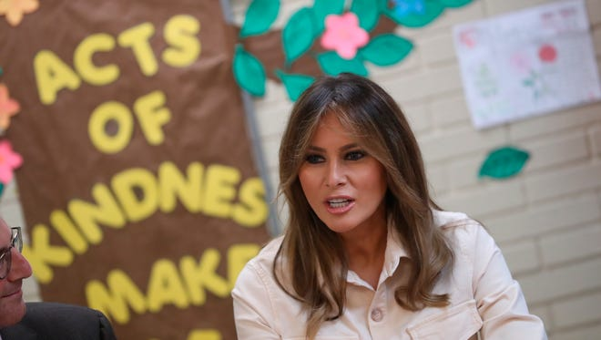 First lady Melania Trump visits the Upbring New Hope Children Center, run by the Lutheran Social Services of the South, in McAllen, Texas,  June 21, 2018.