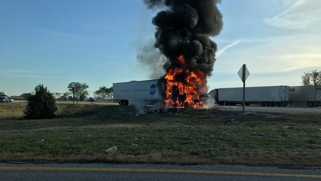 A Dot Foods tractor trailer caught fire on Interstate 81 Monday morning.
