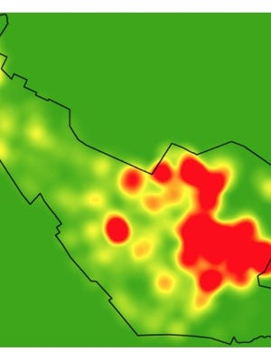 A heat map of positive cases, updated as of Oct. 19.