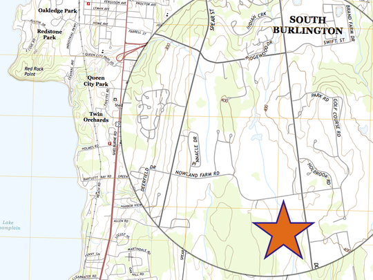 The proposed 154-unit Dorset Meadows housing development would be located in South Burlington's mostly-rural southeast quadrant, as seen in this stylized U.S. Geological Survey map.