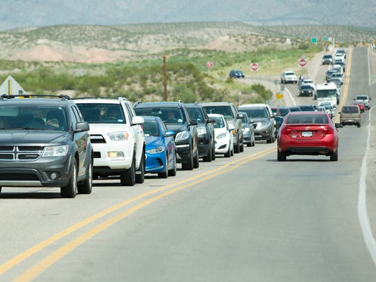Many locals and out-of-towers head towards the Hatch Municipal Airport on Saturday, September 2, 2017, for the annual Hatch Chile Festival. Traffic began backing up at the Hatch exit off Interstate 25 and slowly wormed through town.