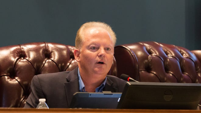 Commissioner Jeff Bergosh speaks during a County Commission meeting on Thursday, Nov. 30, 2017.