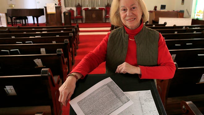 Elaine Lent is shown with copies of a letter preserved by The Old First Baptist Church in Middletown that was recently presented to the township.  In the document shown Thursday, January 14, 2016, church members vow to support the colonials in the revolutionary war vs. the British.
