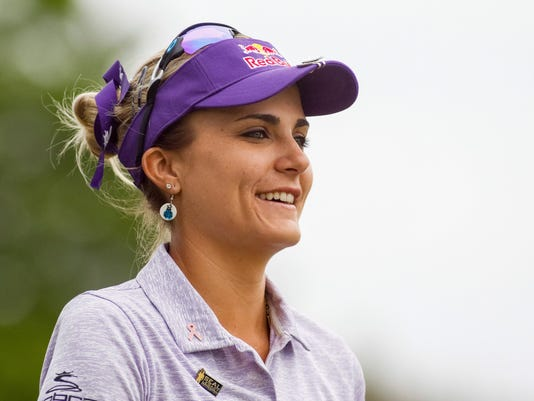 Lexi Thompson makes her way up the second fairway during the second round of the North Texas LPGA Shootout golf tournament at Las Colinas Country Club in Irving, Texas, Friday, April 28, 2017. (Ray Carlin/Star-Telegram via AP)