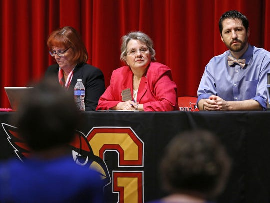 "Arizona Superintendent of Public Instruction Diane Douglas is flanked by Deputy Superintendent Dr. Jennifer Johnson and Rep. Paul Boyer (R-20) during her  ""We Are Listening"" tour at Glendale High School on May 2 in Glendale.  The 14-stop tour ends June 20 in Springerville."