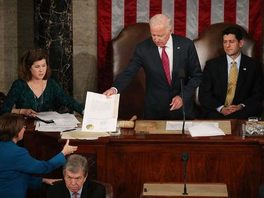 Jan. 6, 2017: Vice President Joe Biden (center) presides