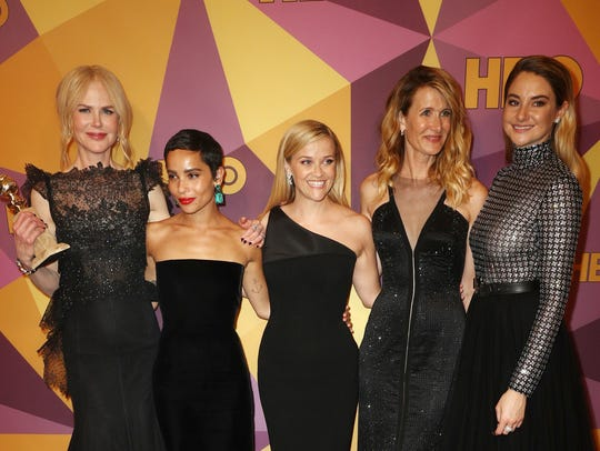The stars of 'Little Big Lies' — Nicole Kidman, Zoe Kravitz, Reese Witherspoon, Laura Dern and Shailene Woodley — celebrate their show's wins at a Golden Globe Awards after-party.