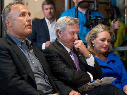 Mark Buller, from left, Montgomery Mayor Todd Strange